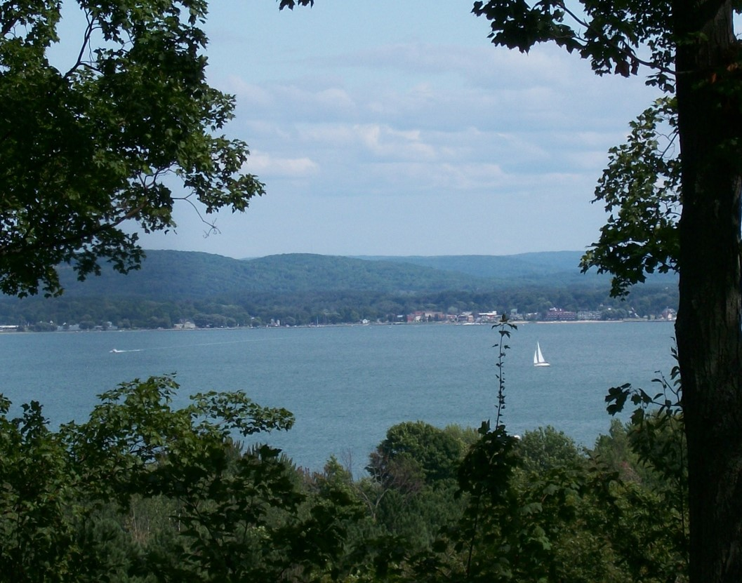 Summer view of Boyne City from Whiting Park Edition (with boats)