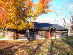 Whiting Park - Log Cabin on an Autumn Day