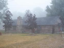 Whiting Park Log Cabin in early morning mist (07-19-11)