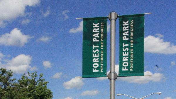 Banner on Northland Avenue that reads positioned for progress