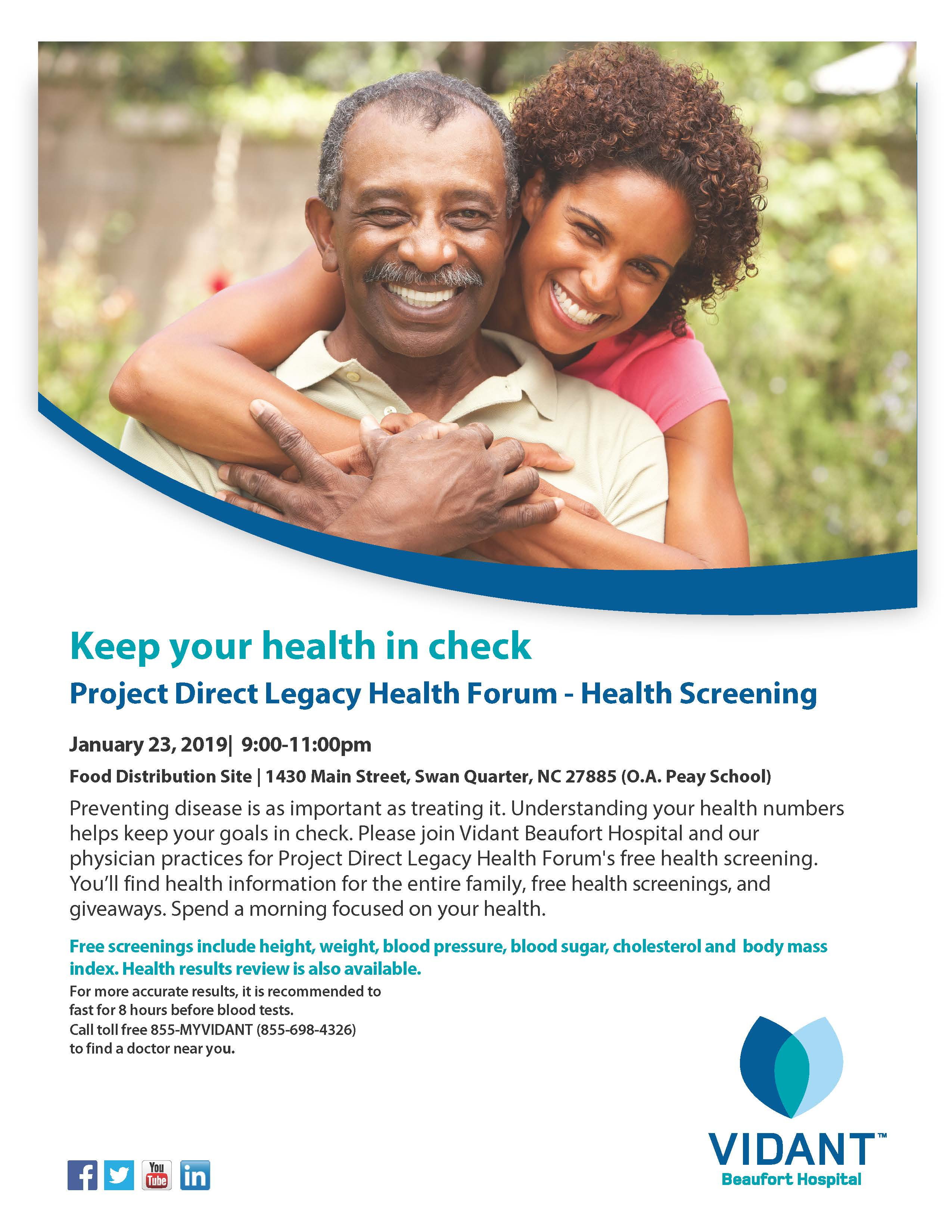 a035a8583 01/05/2019 - Project Direct Legacy Health Forum will be hosting a health  screening at the O.A Peay School, 1430 Main St, Swan Quarter on January 23.