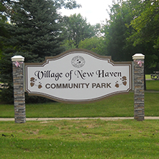 Photo of sign at entry of Village of New Haven Community Park